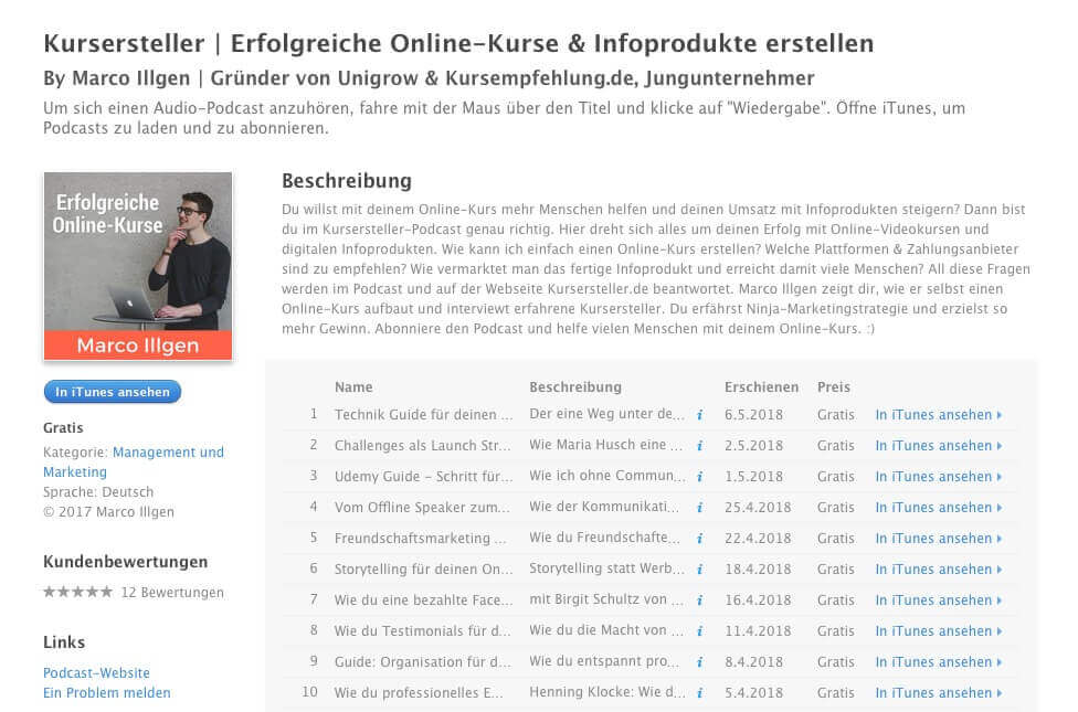 Kursersteller Podcast auf Apple iTunes mit Marco Illgen