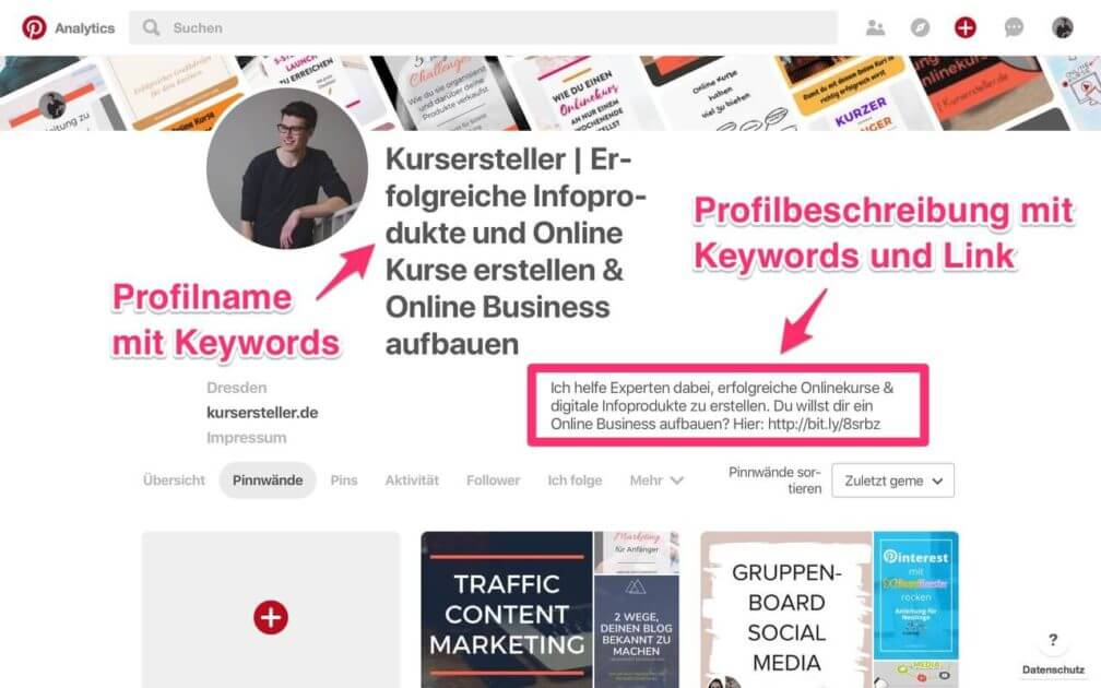 Optimiertes Pinterest Business Profil anlegen