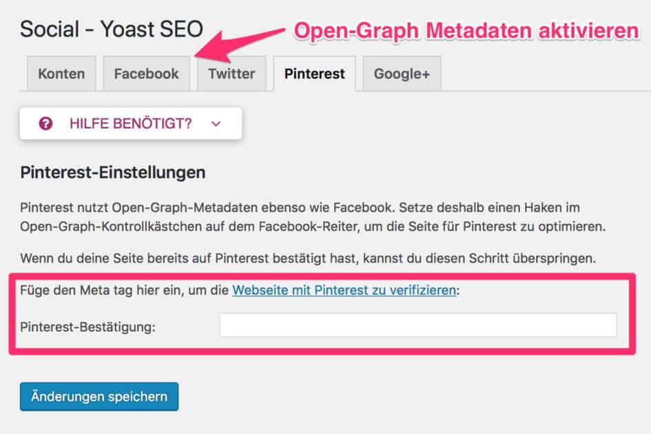 Rich Pins mit Yoast aktivieren und Website für Pinterest verifizieren (1)