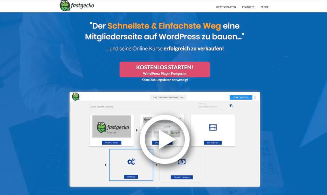Fastgecko WordPress Plugin um Mitgliederbereich zu erstellen