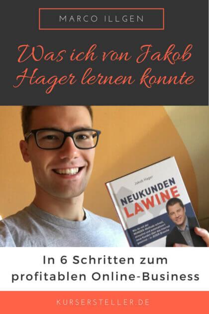 Erfolgreiches Online-Business und Online-Kurse mit der Wunder Methode von Jakob Hager im Buch Neukundenlawine
